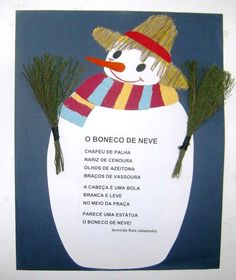 Jardins Coloridos: Poesia: O Boneco de Neve Snow Art, Winter Activities, Kindergarten, Education, Christmas Ornaments, Holiday Decor, Crafts, Christmas Activities, Educational Activities