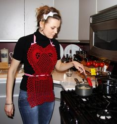 super sexy in bright red crocheted one-of-a-kind apron. #apron #shopping #onlineshopping #clothesonline