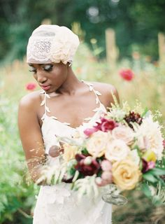 Gorgeous headpiece, bouquet..and bride!  anne roberts photography Repinned by #loricoleevents