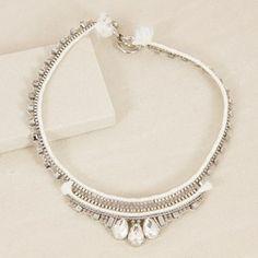 Crystal Edge Fine Chain & Cord Collar Necklace
