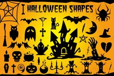 Halloween Vector Shapes Set: candlestick, ghost, spider web, potion, skull, broom, bat, candy, cat, owl, cauldron, bone, cemetery, cross, hat, coffin, eye, pumpkin, pentagram, moon, castle, hand, heart, tree trunk, scars. Format: Vector Ai, Eps, PSD, CSH (Photoshop Custom Shapes) + Transparent PNG.