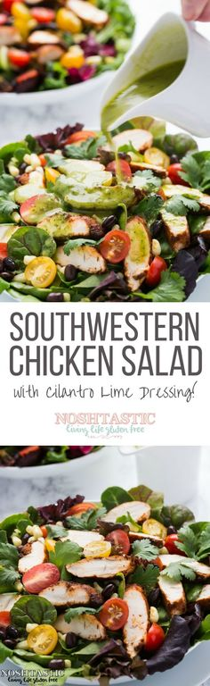 A very healthy easy Southwestern Chicken Salad recipe with Cilantro Lime Dressing it's gluten free and low carb too!: