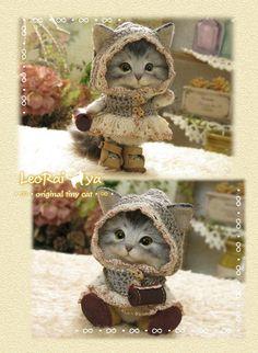 LeoRai*ya/羊毛フェルト猫/お出掛けにゃんこ/ハンドメイド2