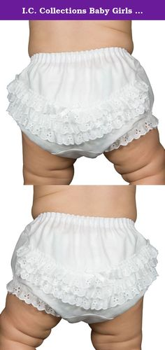 I.C. Collections Baby Girls White Batiste Rumba Diaper Cover Bloomers, Size XL. These white diaper cover bloomers are made of 65% polyester, 35% cotton batiste. Seat and legs trimmed with embroidered eyelet edging. Inserted waist elastic for babies and infants. NOTE: Diaper covers are sized to fit over diapers so are typically a little larger fit than you might expect from non-diaper cover panties. Typically, NB should fit birth to 3 months, SMALL should fit 3 to 6 months, MEDIUM should…