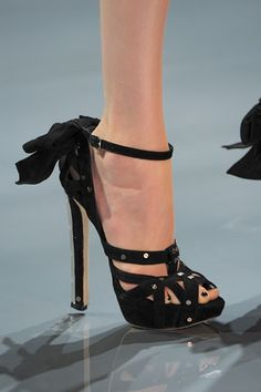 I simply love the black nail polish with these sexy Dior shoes