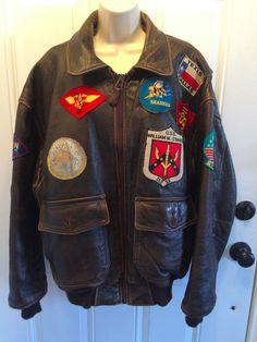 AVIREX USA Top Gun Navy G-1 Jacket XL Bomber LEATHER MAVERICK '91 Vintage #AVIREXLTDBrandnowCockpitUSA #BomberFlyingNAVYJacket