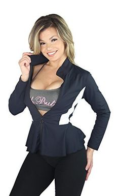 52240d7b4 AB Butter Women s Sexy Hourglass Peplum Jacket for Fitness Gym Workout  Training Running Yoga
