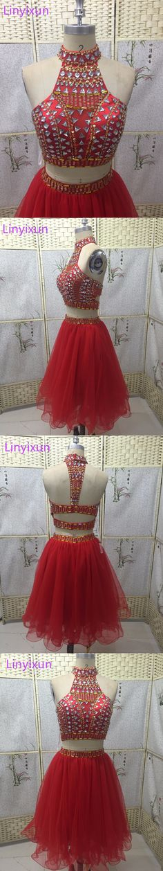 Linyixun Real High Neck Red Short Two Pieces Prom Dresses 2017 Sleeveless Tulle Sexy Beaded Formal Evening Dress for Graduation