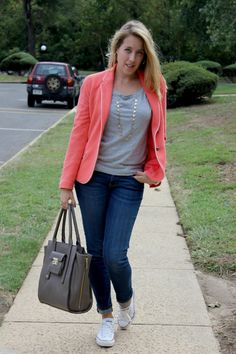 Wearing: The Pink Blazer // don't be afraid to go bold for fall! Pink works for fall too, just pair with darker fall colors and neutrals for a sporty and fun look