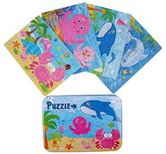 Kids Puzzles for Toddlers 3 Years, 4 in 1 Wooden Jigsaw Puzzles with a Storage Box (Ocean Animals)