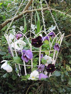 Cream Hanging Basket...looks like garden fence or lamp shade
