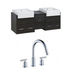 American Imaginations Xena Farmhouse 62'' Double Plywood-Melamine Bathroom Vanity Set