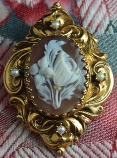 Large 14K Yellow Gold Art Shell Flower Bouquet Cameo Brooch with Seed Pearls #Unbranded