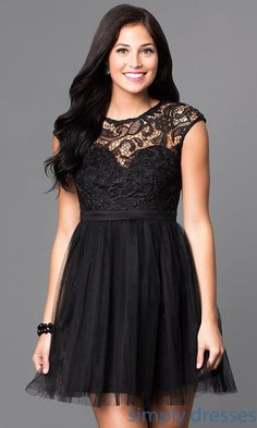 Short Cap-Sleeve Illusion-Lace Sweetheart Dress - Brought to you by Avarsha.com