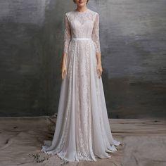 Boho Wedding Dress/ Lace Dress/ Bohemian wedding/ Lace wedding dress/ Vintage Wedding/ long sleeve wedding dress / Custom made/ Intro SALE