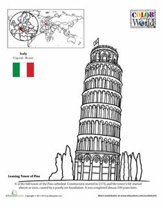 Second Grade Fourth Grade Places Geography Worksheets: Color the World! The Leaning Tower of Pisa Geography Worksheets, Teaching Geography, World Geography, Homeschool Worksheets, My Father's World, Story Of The World, Wonders Of The World, World Thinking Day, Voyage Europe
