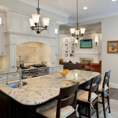 White Kitchen With Alaska Granite Design Ideas, Pictures, Remodel and Decor