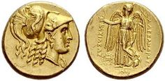 Alexander III, 336-323. Gold stater c. 311/305, Babylon. Early posthumous issue. Head of Athena in Corinthian helmet decorated with serpent to r. Rev. ΑΛΕΞΑΝΔΡΟΥ ΒΑΣΙΛΕΩΣ Nike standing to l. with wreath and stylis, on l. monogram in wreath, in exergue MI. 8.56 g.