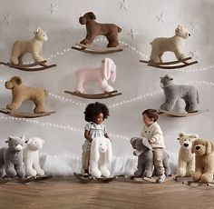 RH Baby & Child's Shaggy Plush Animal Rocker - Dog:With a sturdy wood base for a smooth ride, our rocker is a welcome playtime companion. Restoration Hardware Nursery, Bunny Nursery, Dog Nursery, Nursery Ideas, Baby Rocker, Nursery Accessories, Baby Mine, Baby Boy Rooms, Baby Bedroom