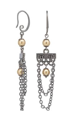 Jewelry Design - Earrings with Swarovski Crystal, Gunmetal-Plated Brass Bead Caps and Gunmetal-Finished Brass Chain - Fire Mountain Gems and Beads