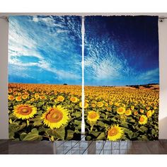 East Urban Home Scenery Exposure Photo Sunflower Garden Field with Skyline Summer Nature Image Graphic Print & Text Semi-Sheer Rod Pocket Curtain P...
