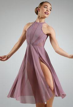 Mesh Halter Midi Dress With Side Slits Modern Dance Costume, Cute Dance Costumes, Contemporary Dance Costumes, Dance Costumes Lyrical, Contemporary Dresses, Ballet Costumes, Dance Leotards, Lyrical Dance, Jazz Dance