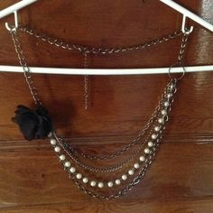 NWOT Gunmetal Pearl Flower Necklace No tarnish to be seen. Biker Chick Rock Rebel Punk Princess Moto Motorcycle Military Combat Too fast Iron fist Hot topic Charlotte Russe Jewelry Necklaces