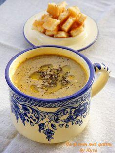 Ce si cum mai gatim: Supa crema de ciuperci Romanian Food, Cheeseburger Chowder, Goodies, Food And Drink, Soup, Meals, Cooking, Healthy, Ethnic Recipes