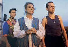 Funniest movie ever! Priscilla, Queen of the Desert! Starring Guy Pearce, Terence Stamp (as Bernadette), and Hugo Weaving!  http://www.heraldsun.com.au/entertainment/movies/afis-top-aussie-five/story-e6frf9h6-1111117800090