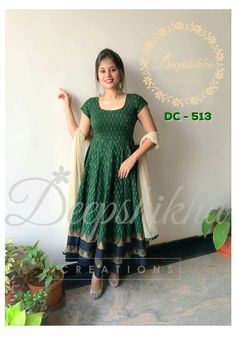 DC - Beautiful bottle green and black color floor length anarkali dress with ivory net dupatta. For queries kindly WhatsApp: 9059683293 16 July 2018 Cotton Anarkali Dress, Designer Anarkali Dresses, Saree Dress, Designer Dresses, Anarkali Frock, Anarkali Churidar, Cotton Gowns, Gown Dress, Salwar Neck Designs
