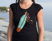 The Feather Top Cap Sleeve on American Apparel Nature Lover Wild and Free Hippy Style Gypsy Soul  Peace Shirt Size (S M L XL)