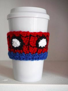 Free Crochet Spider-man Coffee Cup Cozy Pattern at The Enchanted Ladybug Crochet Coffee Cozy, Coffee Cup Cozy, Crochet Cozy, Crochet Crafts, Yarn Crafts, Crochet Projects, Free Crochet, Morning Coffee, Crochet Mask