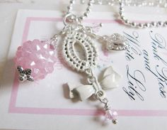 Pink charm necklace, by romanticcrafts, $12.90