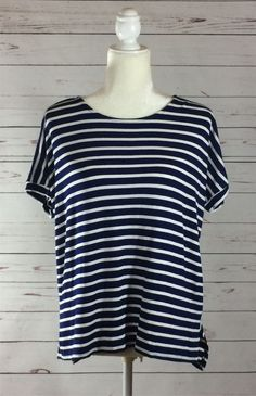 Navy/Ivory Striped Short-Sleeve Blouse