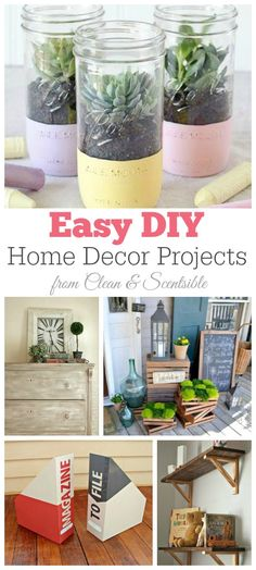 Easy DIY Home Decor Projects.  I must try some of these!