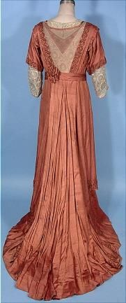 """c. 1912 """"Titanic"""" Edwardian Cinnamon Colored Silk Trained Gown (Back)"""