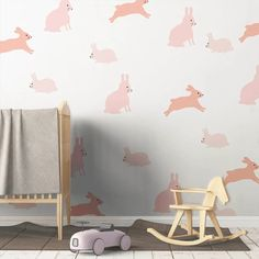 Bunny Decals - Coral - Project Nursery Nursery Nook, Project Nursery, Girl Nursery, Nursery Ideas, Shibori, Celebrity Nurseries, Funny Pumpkins, Pumpkin Photos, Space Projects