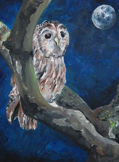 This is an original acrylic painting of an owl perched on a tree at night. It uses a wonderful contrast of dark blues and black with the bright whites of the owl's feathers.  This painting is on a canvas art board and is signed and dated. It is unframed, but if you contact me I can arrange to send it in a frame!