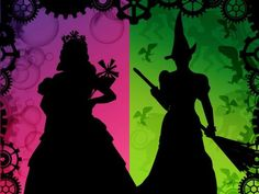 Silhouettes of Glinda and Elphaba from Wicked. Wicked Musical, Wicked Good, Wicked Witch, Elphaba And Glinda, Theatre Geek, Musical Theatre, Theater, The Witches Of Oz, Wicked Tattoos