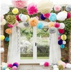 Cheap pom pom, Buy Quality tissue paper flowers directly from China paper flowers Suppliers: inch),Pom poms, Tissue Paper Flower Ball Craft Poms Paper colors,Wedding Party Decoration Festa Party, Diy Party, Party Ideas, Wedding Pom Poms, Garland Wedding, Wedding Flowers, Blue Wedding, Trendy Wedding, Wedding Colours