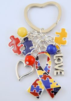 Autism+Ribbon+Keychain+with+Puzzle+Piece+Charms+by+AutismLoveHope,+$10.00