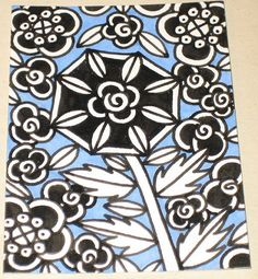 Original Drawing ACEO Black and White Flowers Blue Background Design
