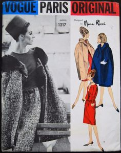 VPO 1217 Nina Ricci Dress/Cape 60s Sz12/32/34 Slim skirt joins bodice with shaped waistline seam. High & lower scooped neckline.Long fitted sleeves.Seven eighths cape has released inverted darts from the wide-shawl collar.env good complete printed unused sld 39+2.62 9bds 10/11/16