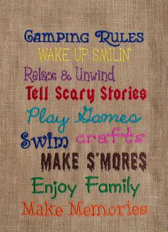 Camping Rules- Burlap Garden Flag- Embroidered Garden Flag- Custom Garden Flag- Machine Embroidery- Custom Embroidery by ShesSewVain on Etsy