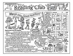 GOOD NUTRITION - March Into Good Nutrition Two-Page Activity Set; March Into Good Nutrition word search puzzle set; reading log & certificate set.