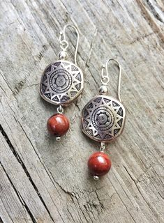 Silver Southwestern Boho Earrings Silver and Red by Lammergeier