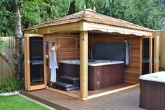 Jacuzzi and garden gazebos and swimming spa gazebos … the igns are unlimited in terms of … Hot Tub Gazebo, Hot Tub Deck, Hot Tub Backyard, Hot Tub Garden, Garden Gazebo, Patio Ideas For Hot Tub, Gazebo Plans, Shed Plans, Gazebo Ideas