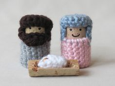 Nativity Set  Crochet on Recycled Wine by BJPrettyLittleThings, $8.00