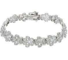 (SIZE 8 )  Diamonique Polished & Pave' Paw Print Bracelet, Sterling