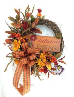 Autumn Wreath Autumn Blessings Fall Wreath by SouthernCharmWreaths